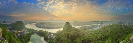 river county: Landscape of Guilin, Li River and Karst mountains. Located near Yangshuo County, Guangxi Province, China. Stock Photo