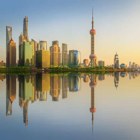 huangpu: Cityscape of Shanghai and Huangpu River on sunset, beautiful reflection on skyscrapers, China.