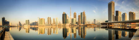 mid morning: Panoramic view of Business bay and downtown area of Dubai at sunrise, UAE. Stock Photo