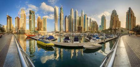 Panoramic view of Dubai Marina bay, UAE Stock Photo