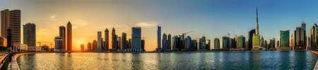 Panoramic view of Business bay of Dubai, UAE Standard-Bild