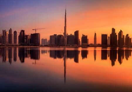 mid morning: Panoramic view of Dubai Business bay, UAE