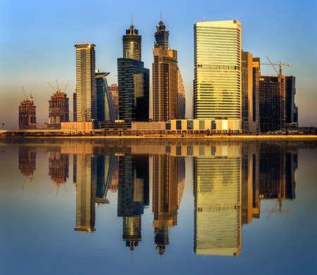 mid morning: Panoramic view of Business bay of Dubai, UAE Stock Photo