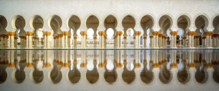 Sheikh Zayed Grand Mosque at dusk, Abu-Dhabi, UAE Stock Photo