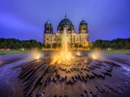 tourist site: Berlin Cathedral with fountain, Berliner Dom Stock Photo