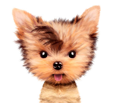 Adorable yorkshire terrier sitting licking nose