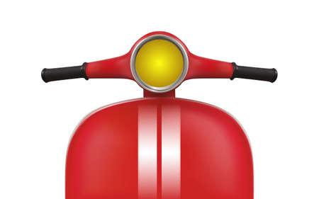 Scooter rouge avec des rayures blanches. Vue de face Banque d'images - 76989029