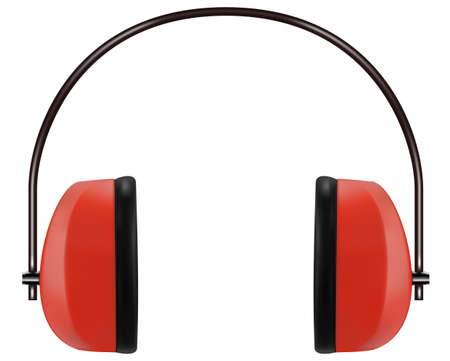 Realistic red protective headphones or earmuffs