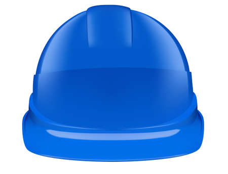 Blue plastic safety helmet on white background. Vector 3D illustration