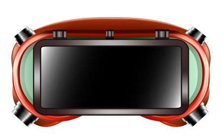 Red welder safety glasses isolated on white background. Vector 3D illustration