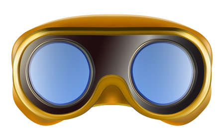 Yellow plastic industrial safety goggles isolated on white background. Vector 3D illustration