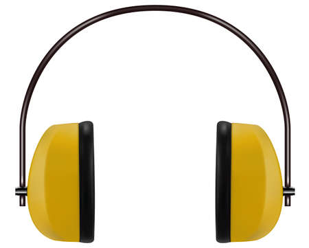 Realistic yellow noise isolating headphones or earmuffs. Vector 3D illustration