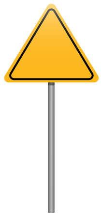 warning indicator: Yellow triangle road sign with stick isolated on white background