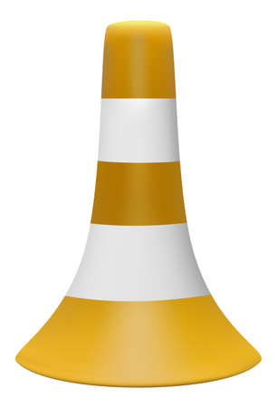 3D illustration of traffic cone with white stripes
