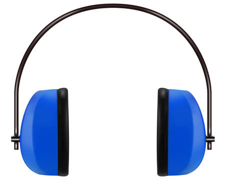 hearing protection: Realistic blue noise isolating headphones or earmuffs. Vector 3D illustration Illustration