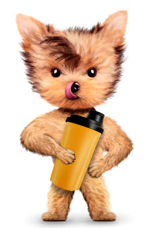 Funny dog holding shaker with sport nutrition. Concept of sport and fitness food. Realistic 3D illustration.