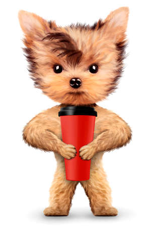 Funny dog holding shaker or water bottle. Concept of sport and fitness food. Realistic 3D illustration.