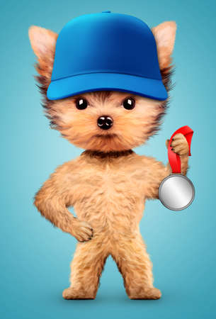 Funny dog wearing baseball cap with silver medal