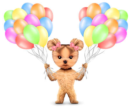 event party: Funny animal keep a bunch of balloons isolated on white background. Birthday and party concept. Realistic 3D illustration