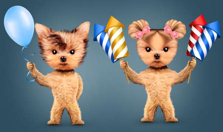 anniversary sale: Couple of animal holding fireworks and balloons
