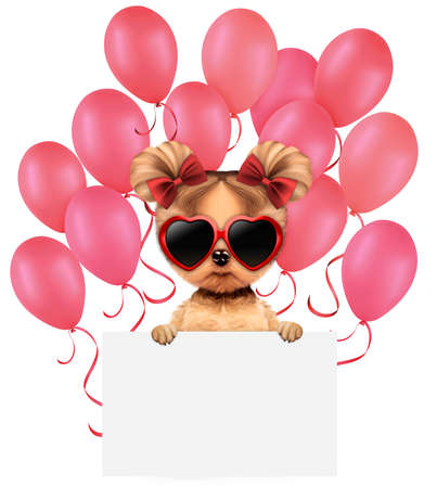 Funny animal keep a banner with balloons
