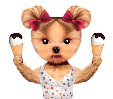 Funny animal in bikini holding ice creams Stock Photo