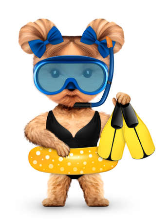 Funny animal in diving mask and swimming ring
