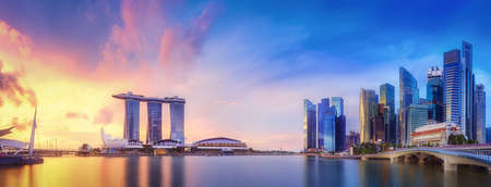 Vibrant panorama background of Singapore skyline at the business bay
