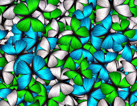 Seamless pattern with lot of different butterflys Stock Photo