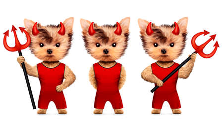 Funny animal Devil. Halloween and Evil concept Stock Photo