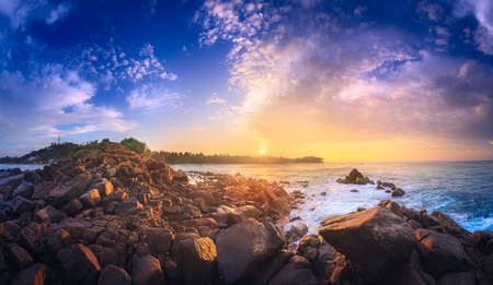 Romantic untouched tropical beach on sunset, Sri Lanka. Stock Photo