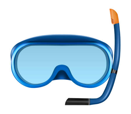 swimming glasses: Blue diving or snorkel mask with tube.