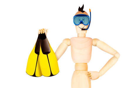 Funny character in diving mask holding flippers. Summer holidays, travel vacation concept. Realistic 3D illustration. Stock Photo