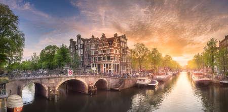 Amsterdam stad zonsondergang