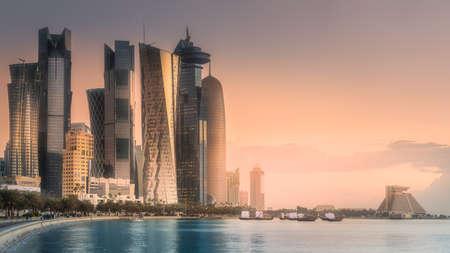 The skyline of West Bay and Doha City Center, Qatar Stock Photo - 91955190