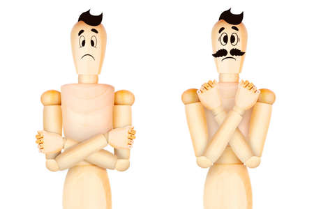 Angry character standing with hands folded. Manager or boss in a discontented position. 3D illustration
