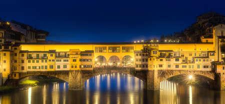 Night panoramic view of Vecchio Bridge, Florence Stock Photo
