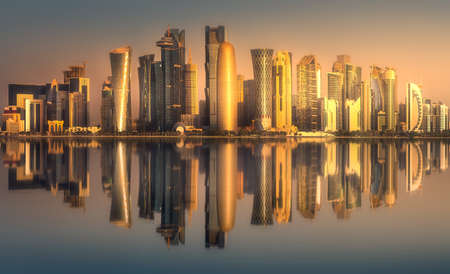 The skyline of West Bay and Doha downtown, Qatar Archivio Fotografico