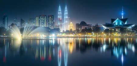 Night scenery view of Kuala Lumpur skyline