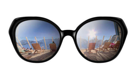 Sunglasses with reflection of Snow mountains