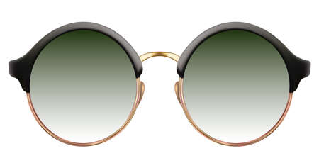 Sunglasses with green lens and gold metalic frame Illustration