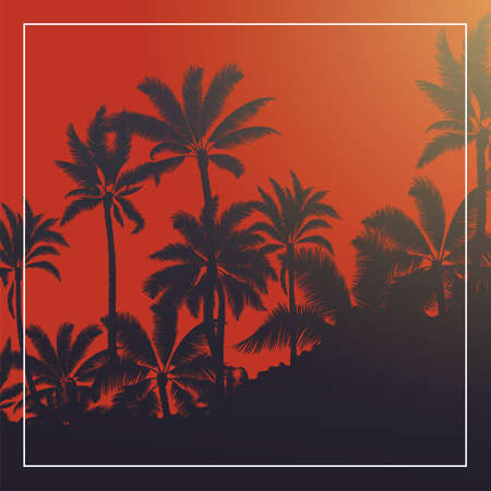 Tropical palm with blood moon sunrise and blue sky