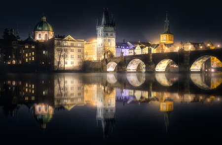 Charles bridgeat night, Prague, Czech Republic