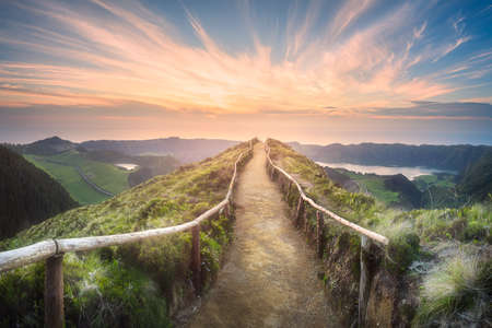 Mountain landscape Ponta Delgada island, Azores Standard-Bild