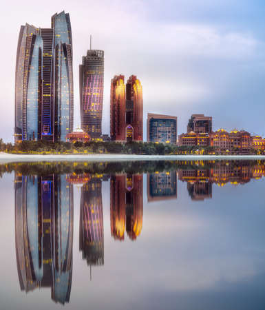 View of Abu Dhabi Skyline at sunrise, UAE 免版税图像 - 99281423