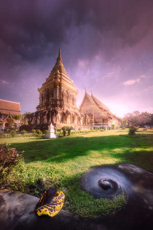 Wat, Temple with golden dragons in Chiang Mai