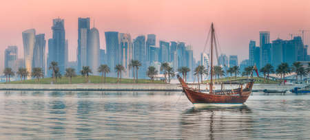 Traditional Arabic Dhow boats in Doha harbour
