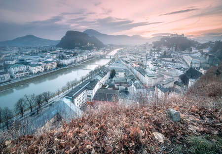 Panoramic view of Salzburg at winter morning