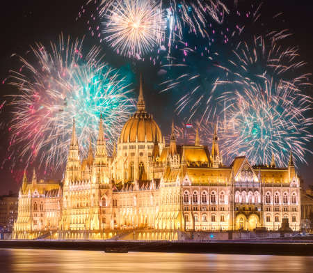 Beautiful fireworks above Hungarian Parliament in Budapest