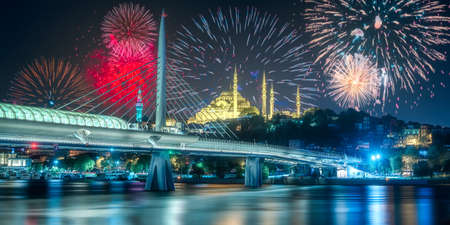 Beautiful fireworks above Bosphorus bridge at night Istanbul